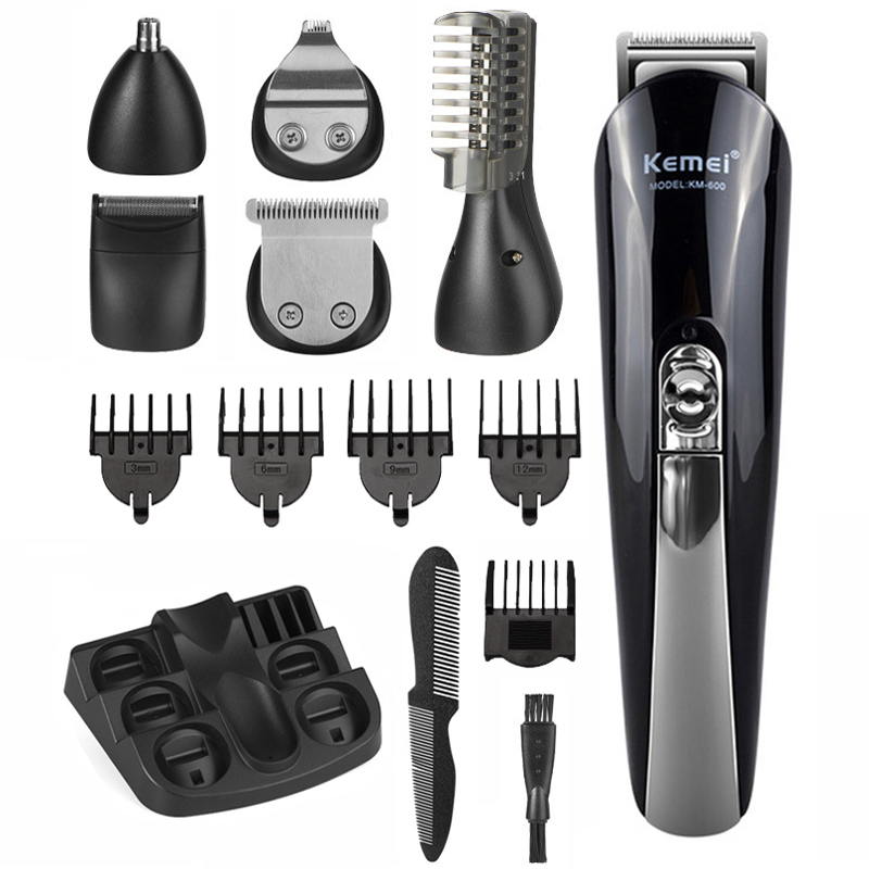 Kemei 6 In 1 Hair Clipper Electric Titanium Hair Trimmer Rechargeable Multifunctional Men Hair Cutting Machine 4 Limit Combs 40D