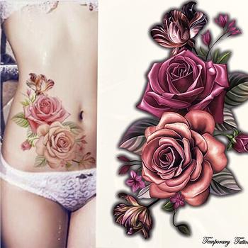 Piękno 1 sztuka makijaż fałszywe naklejki tymczasowe tatuaże róża kwiaty ramię ramię tatuaż wodoodporne kobiety duży Flash tatuaż na ciele tanie i dobre opinie Jedna jednostka CN (pochodzenie) 21*14 9cm FLOWER