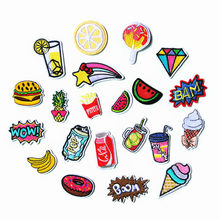 Banana Lemon Cherry Peach Watermelon Fruit Embroidery Patches for Clothing Iron on Kids Clothes Appliques Badge Stripes Sticker(China)