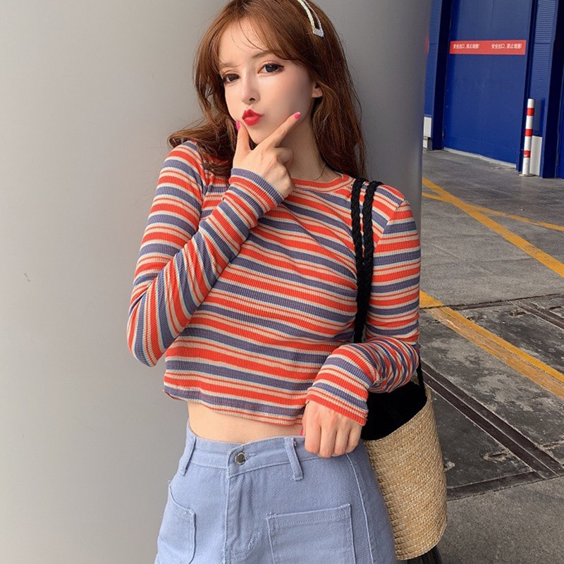 Women Autumn Winter Korean Stripes Sweaters Kawaii Sweet Slim Long Sleeved O neck Bottom Knit Jumpers Pull Femme