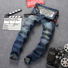 цена Trendy Men's Jeans Blue Retro To Make Old Worn Cotton Straight Trousers Mens Clothing Biker Ripped Skinny Trousers Denim Jeans в интернет-магазинах