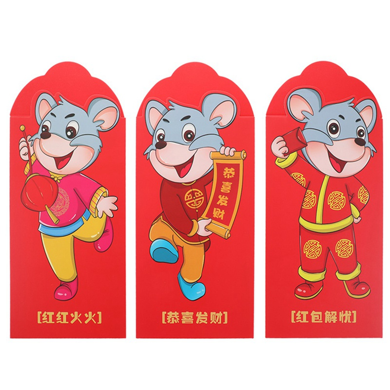 6 Pcs/Pack High Quality Kawaii 2020 Chinese Fortune Rat Year Red Envelope Children New Year Red Pocket For Student Kids Gift