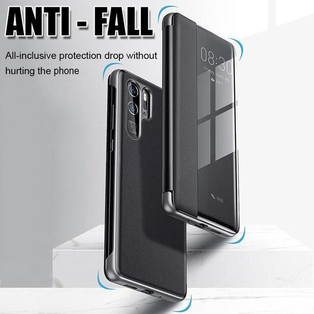 Smart View Flip Case For Huawei P40 Pro P20 P30 Y5 Y6 Y7 Y9 Prime 2019 P smart Z PIus Mate 30 20 10 Lite Honor 9X Pro 8X Cover 3