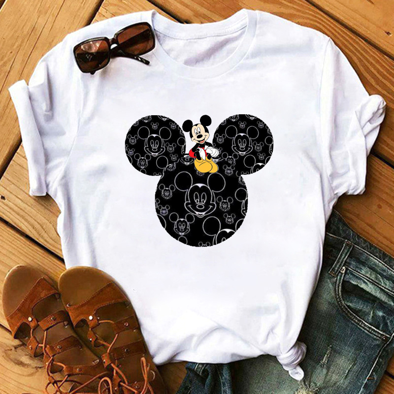 Maycaur Hot Sale Mouse Print Tshirts Women Vogue T Shirt Funny Femme T Shirt 90s Hip Hop Kawaii Tops Tees Hipster Female Tshirts