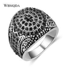 Wbmda Vintage piedra negra hombre anillo plata antigua Punk anillo grande boda joyería San Valentín regalo 2019 nuevo