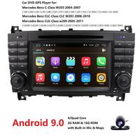 Android 9.0 2 DIN Car DVD GPS For Mercedes/Benz W203 W209 W219 A Class A160 C Class C180 C200 CLK200 radio stereo dab swc dvr bt