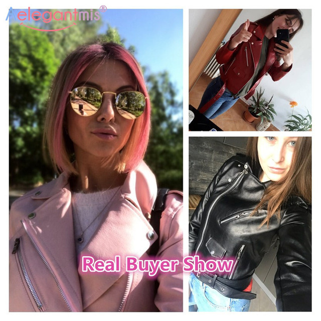 Aelegantmis – Manteau court en similicuir doux, pour femmes, veste basique de moto en imitation cuir, à fermeture Éclair, nouveauté, mode dames automne 2