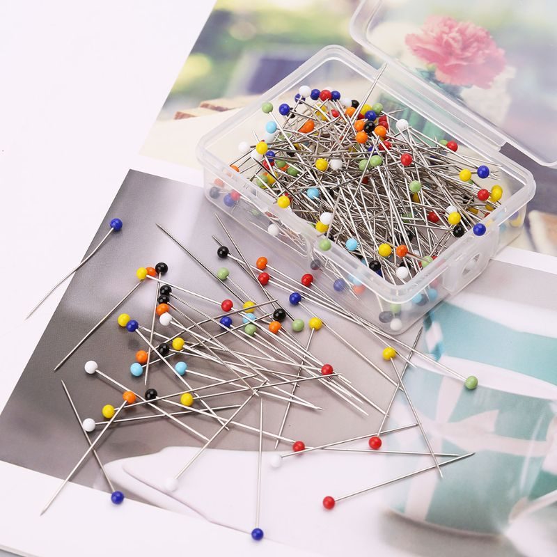 250pcs/set Round Glass Ball Head Pins DIY Quilting Tool Sewing Accessories School Office Stationery