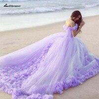 Lakshmigown Romantic 3d Flowers Appliques Ball Gown Wedding Dress Fairy Sweetheart Off Shoulder Chapel Train Bridal Dress