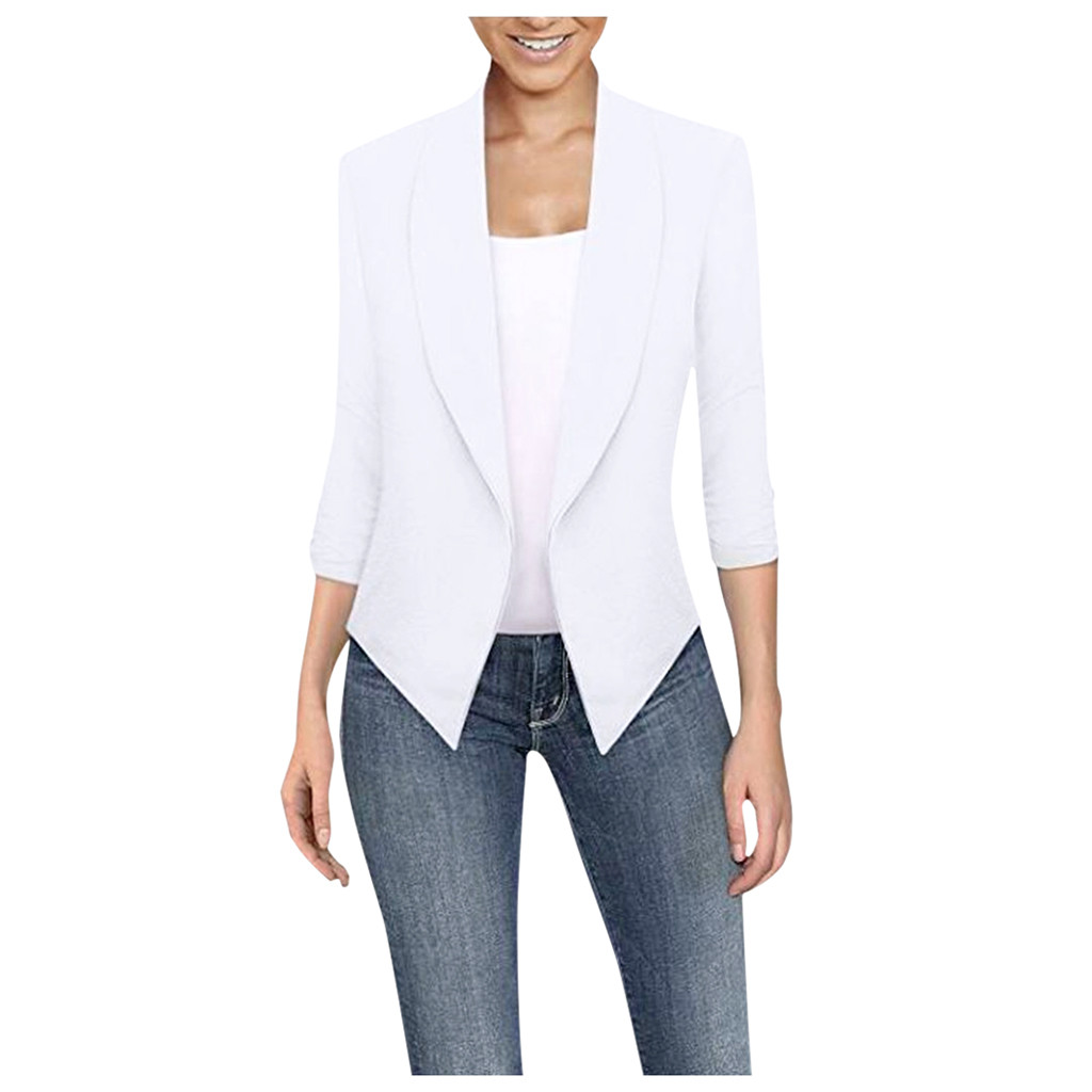 Women Thin Jacket Coat 2020 Spring Autumn Long Sleeve Lapel Fashion Bling Silver white Cardigan Elegant Work Suit #YL10