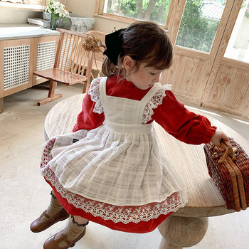 2020 New Fall Winter Girl Corduroy princess dress White Lace Long sleeve strap dress for baby girls Cute Toddler Kids clothes new arrivals fall winter cartoon yellow mouse long sleeve dress baby kids girls boutique knee length milk silk match accessories