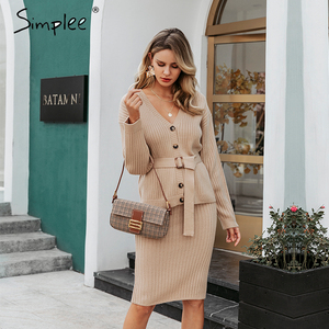 Image 5 - Simplee women knitted sweater dress Elegant autumn winter two pieces skirt suit White long sleeve female cardigan midi dresses