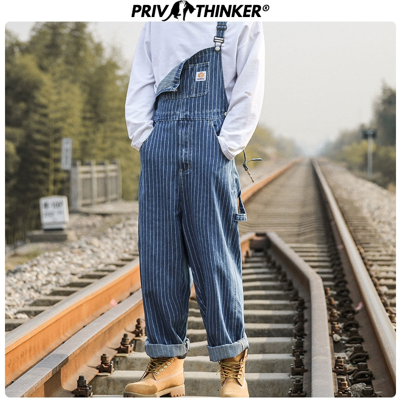 Privathinker 2020 Overalls Mens Hot Fashion Male Streetwear Casual Full Length Denim Rompers Pocket Regular Jeans Suspender Man