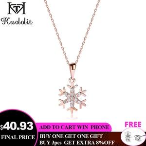 Kuololit Natural Diamond Solid 10K Gemstone Pendants For Women Luxury Rose Gold Snowflake Engagement Fine Jewelry Christmas gift