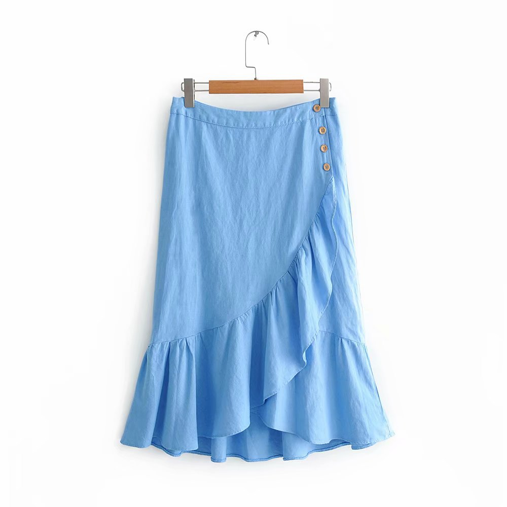 Fashion Korean-style Popular Fashion Flounced Hemp Cotton Slim Fit Versatile Skirt/Skirt Summer Women's Wqz66580