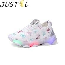 JUSTSL осенние детские светодиодные лампы спортивная обувь для мальчиков и девочек дышащая сетка модные кроссовки детская повседневная обувь