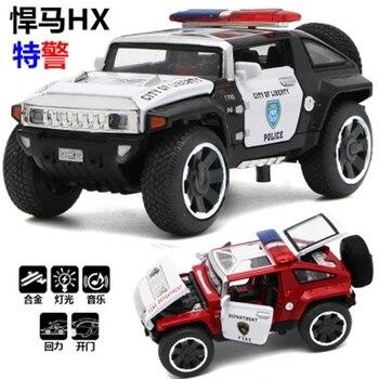 Nuevo coche de policía Hummer HX modelo de coche de aleación con sonido trasero y luz para niños coche de juguete para niños regalo de cumpleaños