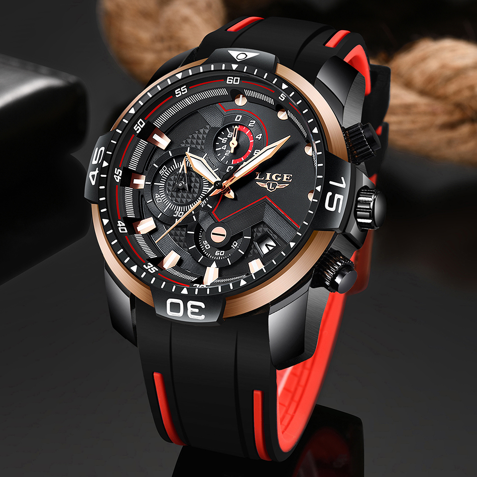 2019 LIGE Big Dial Men's Watch Chronograph Sport Men Watches Design Creative With Dates Male Wristwatch Mens Stainless Steel