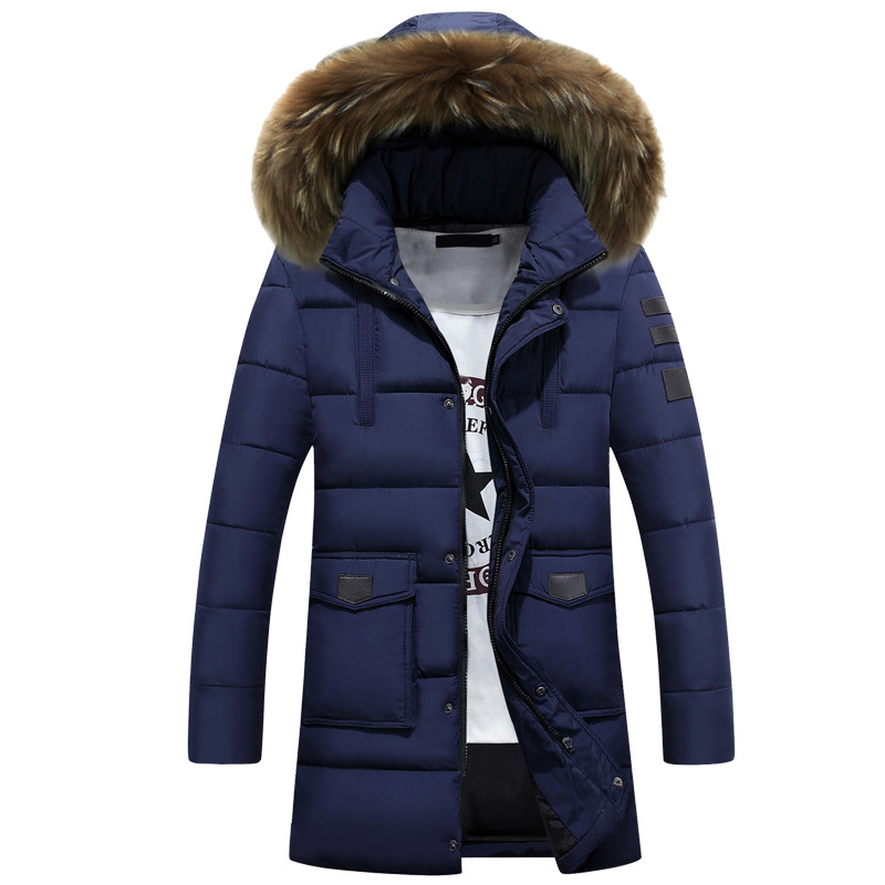 Winter Jackets Coats Overcoat Men's Parkas Thick Long Hats Fashion Casual Hombre Solid Warm Windproof Fur Collar 5XL 4XL MOOWNUC