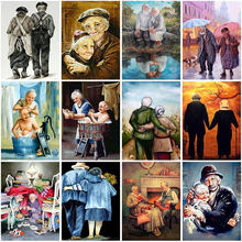 Old couple diy 5d diamond painting full round rhinestone cartoon
