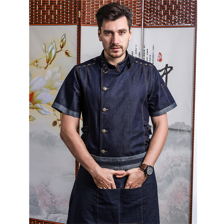 Hight Quality Man Denim Cotton Chef Uniform Kitchen Restaurant Bakery Work Clothes Jacket With Apron Food Service Cook Coat
