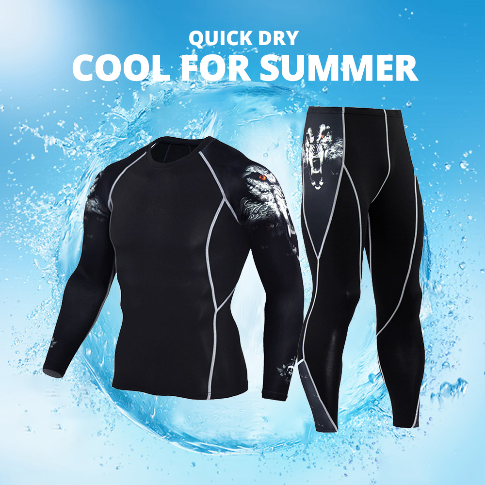 JACK CORDEE Summer Motorcycle Jacket Quick Dry Motorcycle Suit Running T-shirt Set Breathable Tight Long Tops & Pants S-3XL