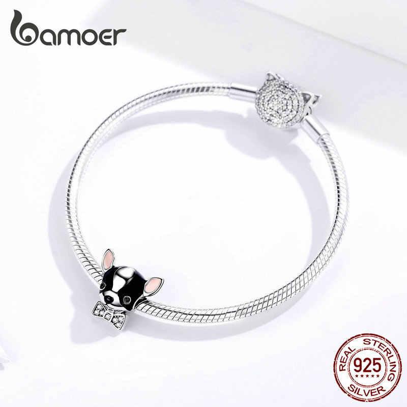 Bamoer emalia Chihuahua wisiorek dla psa srebro 925 oryginalny Fit bransoletka i bransoletka 925 srebro biżuteria 2019 Femme SCC1310