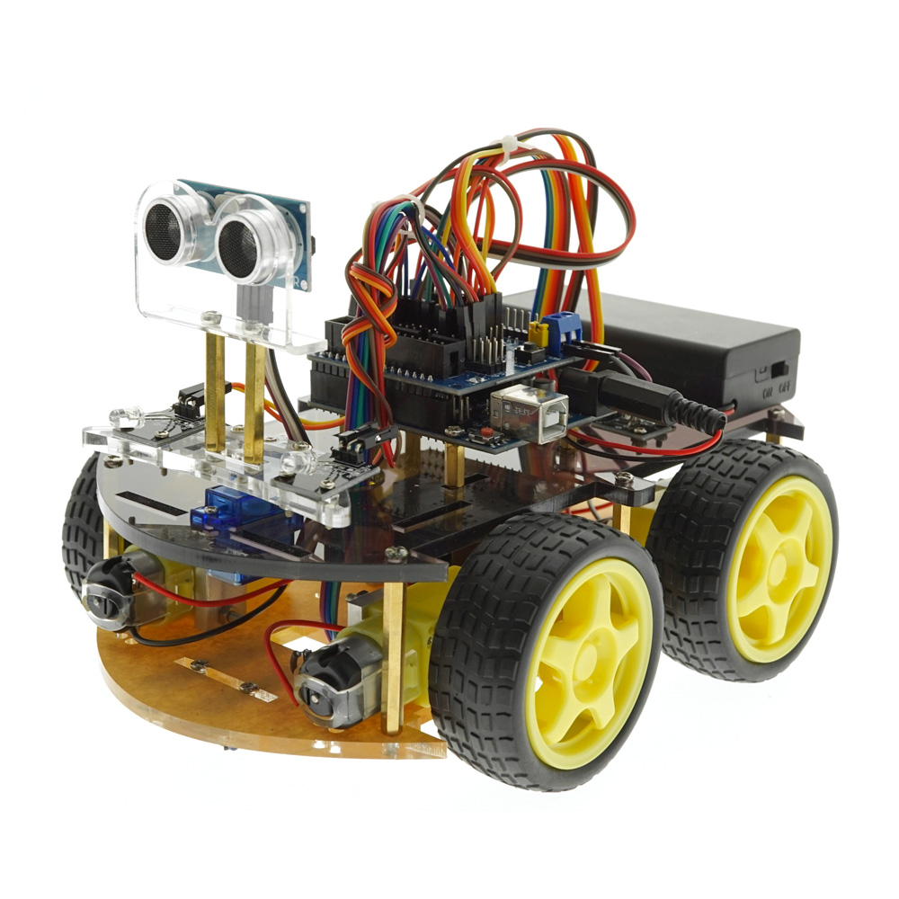 Free Tutorial Multi-function Bluetooth IR Sensor Smart Robot Car For Arduino