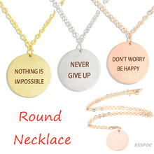 "Silver/Gold/Rose Gold Inspiring Necklace ""Nothing Is Impossible""Coin Minimalist Jewelry Clavicle Round Pendant"