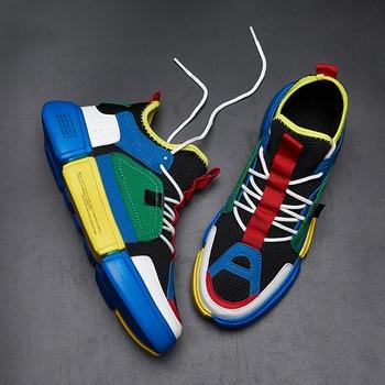 Unisex Primavera Verano WU imprimir Zapatillas de deporte de alta aire superior zapatos para hombres Zapatillas Hombre Mujer ligero holgazán calzado de Tenis