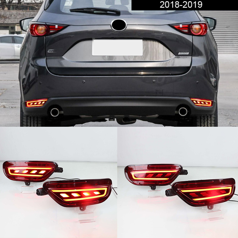 2pcs <font><b>LED</b></font> Rear Fog Lamp Car Rear Bumper Brake Light Dynamic Turn Signal Light Reflector <font><b>For</b></font> <font><b>Mazda</b></font> <font><b>CX</b></font>-<font><b>5</b></font> CX5 2018 <font><b>2019</b></font> image