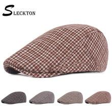 SLECKTON Cotton Plaid Hat Flat Cap Retro Beret Newsboy Cap Peaked Cap Fashion Newsboy Cap Casual Sun Hats Vintage Hat Unisex
