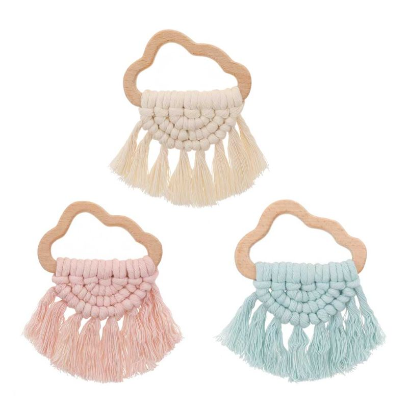 Handmade Baby Wooden Teething Cloud Eco-Friendly Organic Wood Rattle Ring Chewable Bracelet Infant Teether Toys 11UC