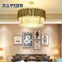 Modern Luxury Round Stainless Steel Chain Crystal Chandelier Living Room Hotel Bedroom Lighting