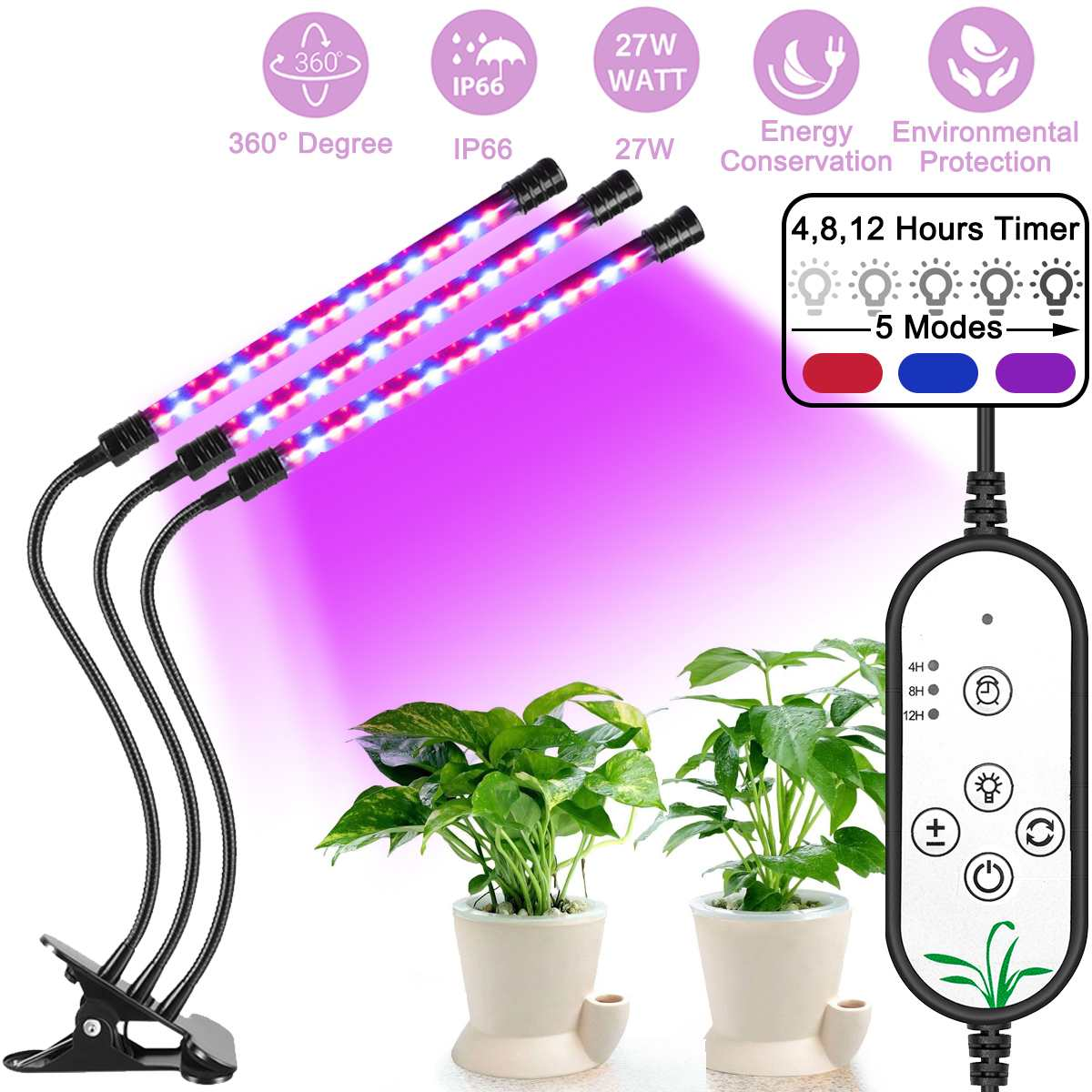 USB DC 5V Phyto Lamp For Indoor Plants Hydroponics 27/18/9/3W 3/2/1 Heads LED Grow Light Plant Growing Lamp Greenhouse Dimma