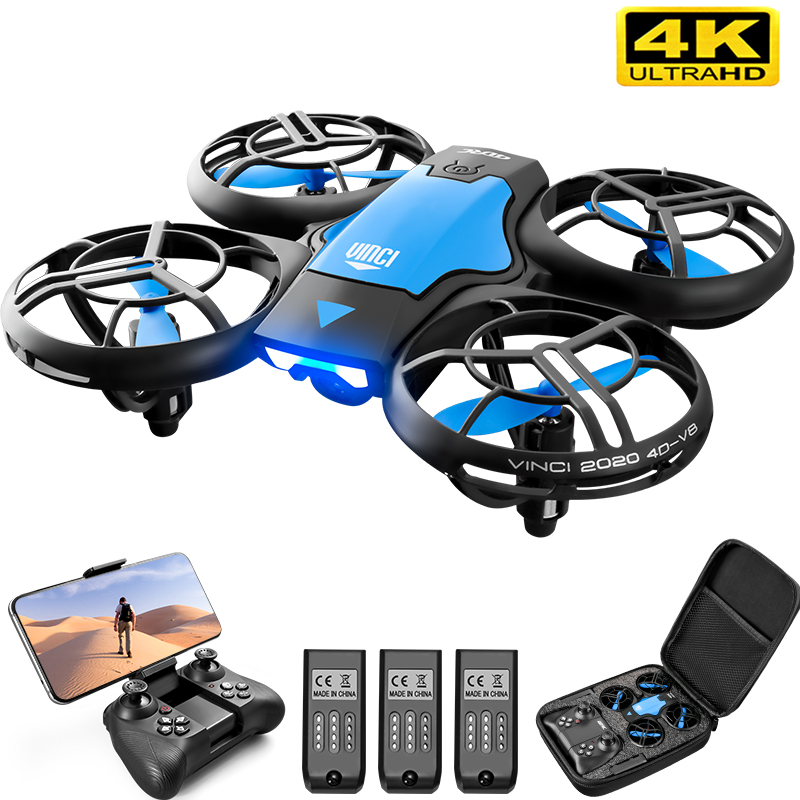 V8 Mini Drone 4K 1080P HD Camera WiFi Fpv Air Pressure Altitude Hold Black Quadcopter RC Drone Toy RC Helicopters  - AliExpress