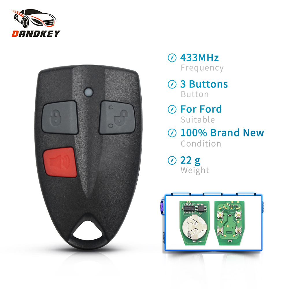 Dandkey Replacement 433Mhz Auto Car Smart Remote Control Key For Ford AU Falcon Clicker Transmitter Keyless Entry Fob 3 Buttons image