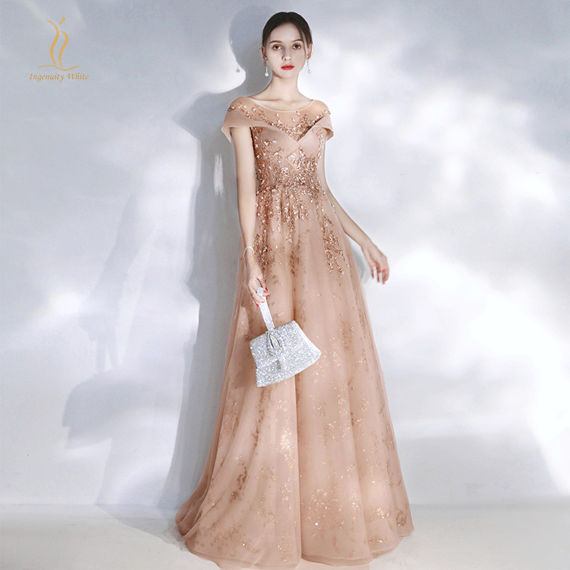 Sheer Neck Evening Dress Short Sleeves Applique A Line Elegant Prom Party Gowns Tulle Shiny Sequins Maid Of Honor