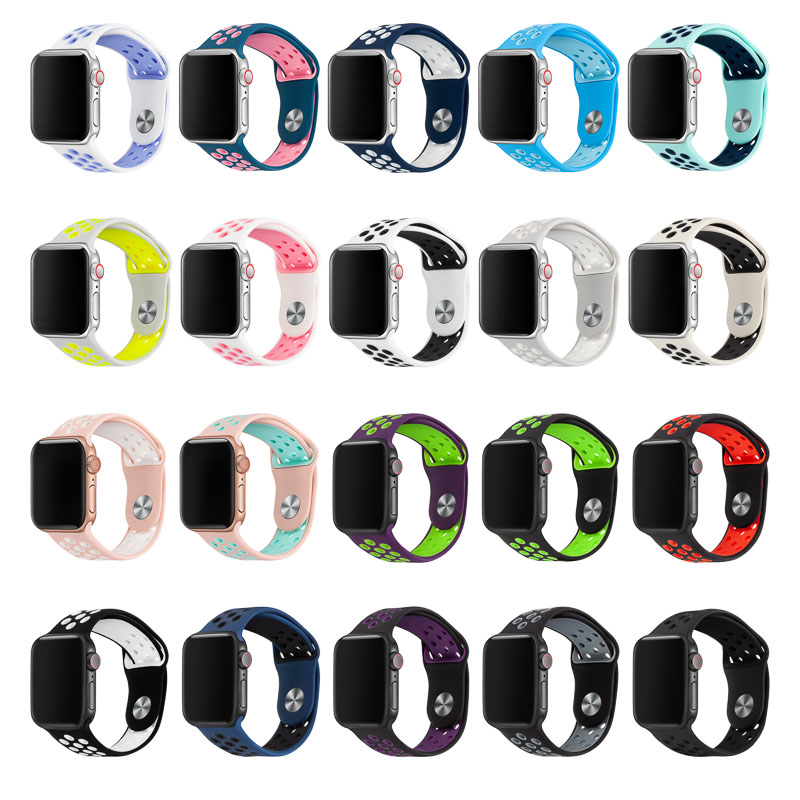 Silicone Replacement Sport Band For Apple Watch Band 38mm 40mm 42mm 44mm Bracelet Watch Strap For IWatch Series 5/4/3/2/1 81010