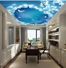 купить Custom any size 3d ceiling murals wallpaper Beautiful dream sky sky ceiling mural по цене 1367.76 рублей