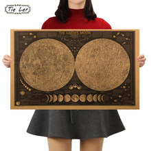 Grand autocollant mural rétro Vintage, affiche de carte de la terre, de la lune et du monde, décoration pour la maison