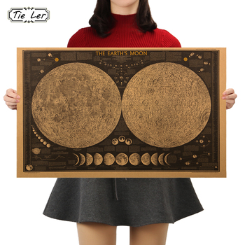TIE LER Large Vintage Retro Paper Earth Moon World Map Poster Wall Chart Home Decoration Wall
