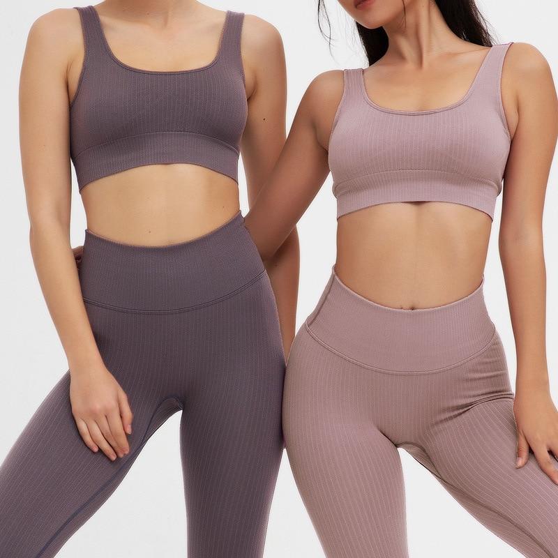 Women Yoga Suit Gym Set Push Up Sports Bra Hot Pants Fitness Top Leggings Outfit