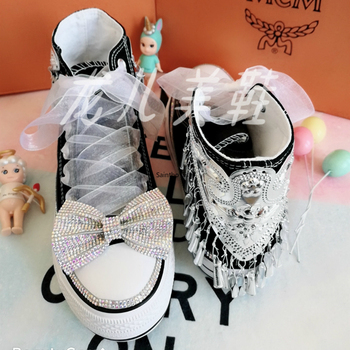 Handwork Rhinestone Bow Womens Sneakers Wind chimes High-top Canvas Shoes Platform Glitter Sneakers Zapatos Mujer White Sneakers