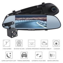 цена на 7 Inch Touch Screen Driving Recorder Dual Lens HD Rearview Mirror Car With Reversing Image DVR Car Camera Full HD DVR Camera