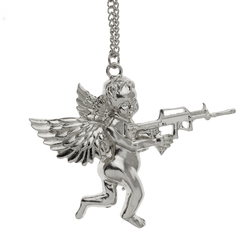 2019 Fashion New Style Hot Women Jewelry Gold/Silver/Rose Angel Baby Carry Gun Stuff Pendant Long Necklace EG041 image