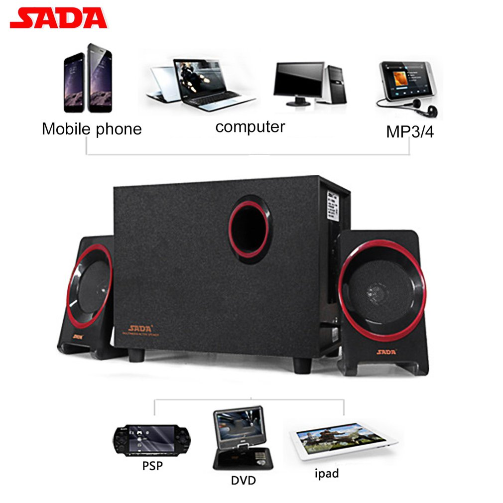 SADA D 225 Bluetooth Speaker 2 1 Subwoofer Stereo Bass PC Laptop Mobile Phone Speaker TF U Disk FM Wood Music Player in Combination Speakers from Consumer Electronics