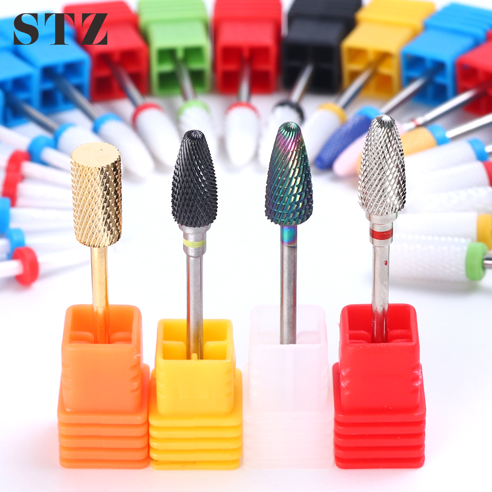 STZ 1pcs Diamond Ceramic Nail Drill Bits Cutters For Manicure Carbide Burr Bits Electric Machine Gel Remover Nails Files ZL01-25