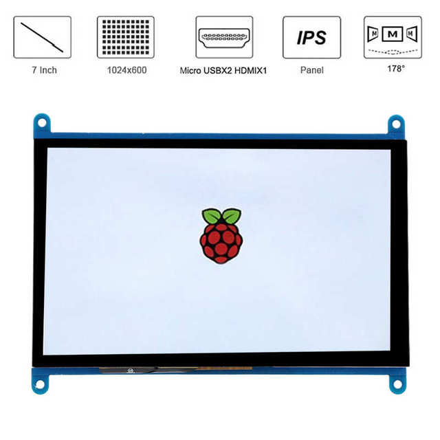 Demo Board Accessories Display Screen for Raspberry Pi HD IPS 1024 x 600 7 inch Backlight Switch USB Power Supply