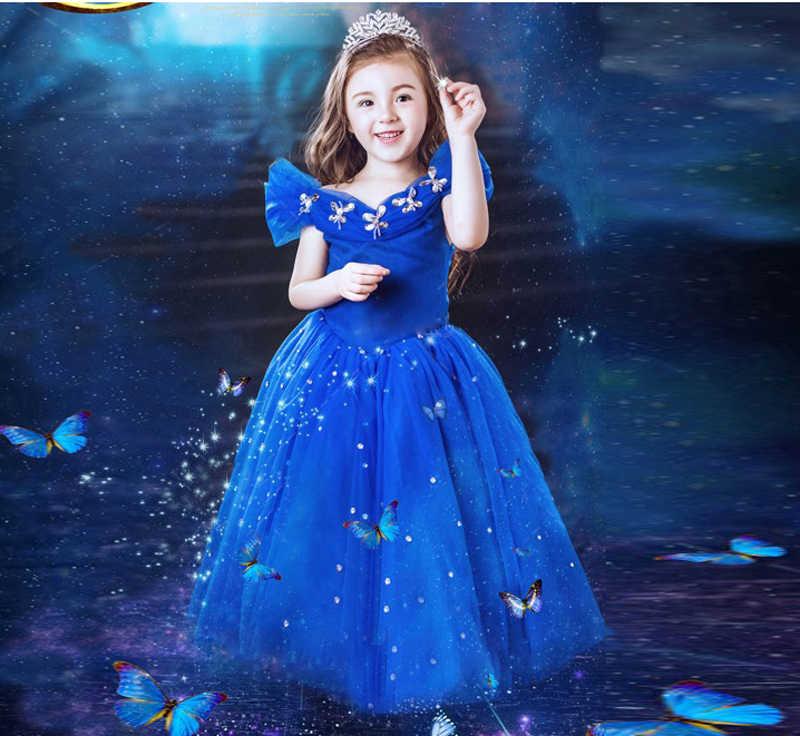 ثلاثية الأبعاد فراشة يتوهم فتاة الأزرق سندريلا مساء تول فستان طويل الفتيات أنيقة توتو حفلة ليلة كرنفال الاطفال الأميرة زي
